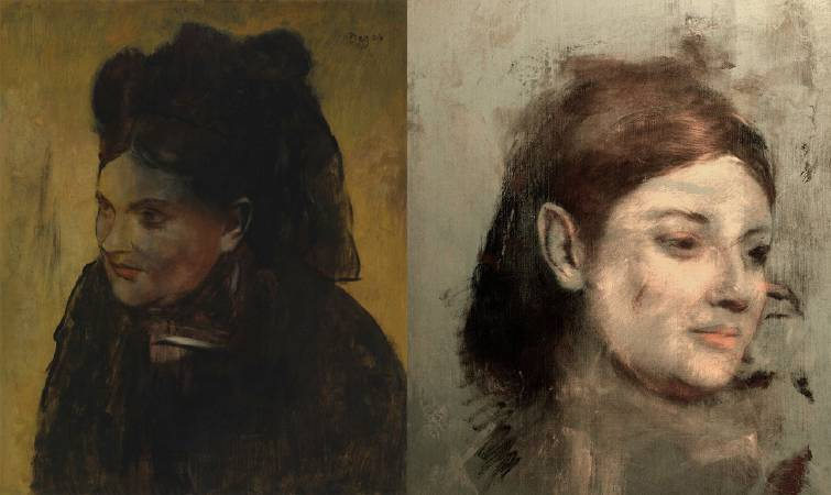 左為竇加(Edgar Degas)《仕女圖》(Portrait of a Woman),右為被覆蓋在底下的女子圖像。圖/取自The Guardian。