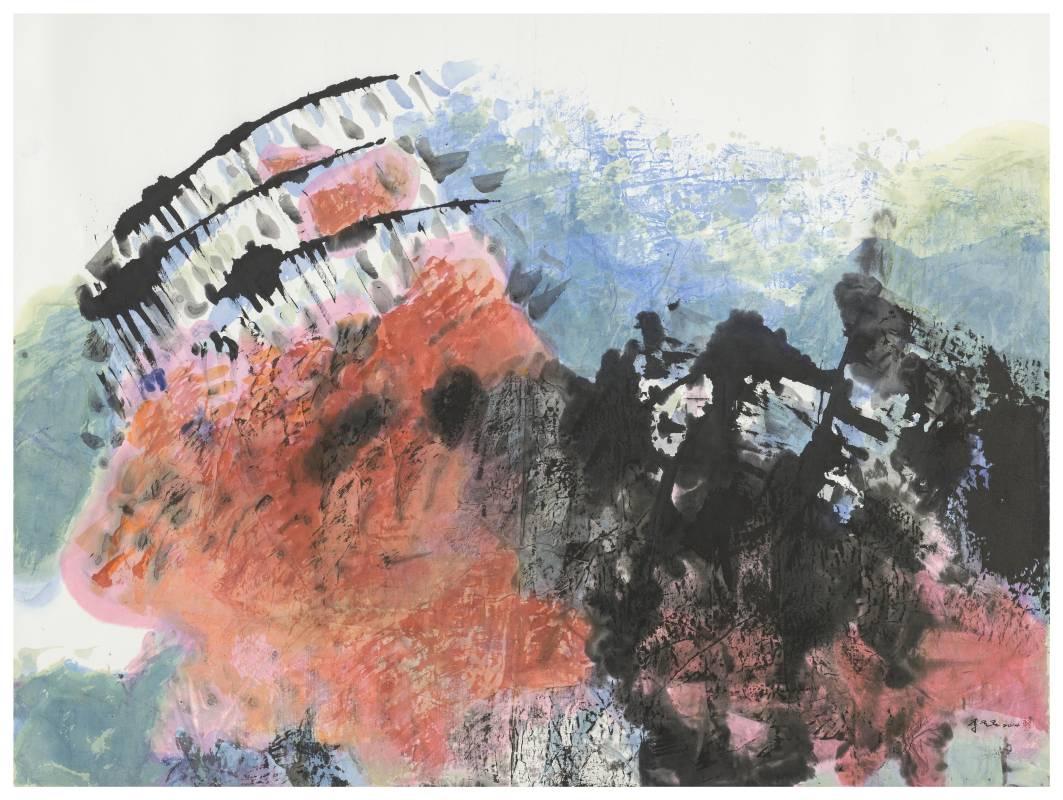李重重《無休止的天空》2014 水墨設色、紙本 90.5×120.5cm (12.1才)