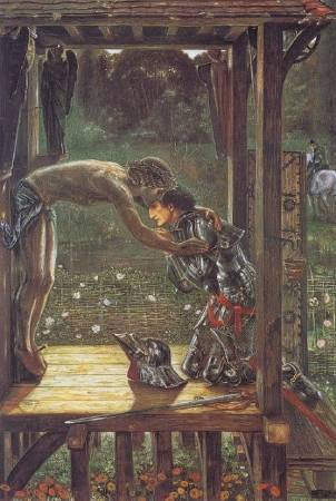 伯恩-瓊斯,《The Merciful Knight》,1863年。圖/取自Wikiart。
