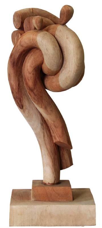 黃弘彥《母子》2010 樟木 65x25x20cm