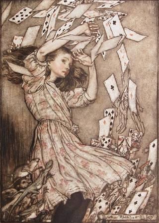 亞瑟.拉克姆《愛麗絲夢遊仙境》中的插畫,1907年。圖/取自peterharrington。