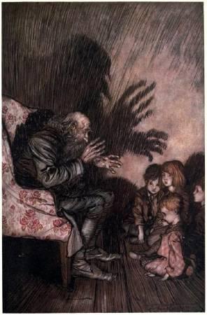 亞瑟.拉克姆為華盛頓·歐文的《李伯大夢》所做的插畫,1905年。圖/取自ebooks.adelaide。