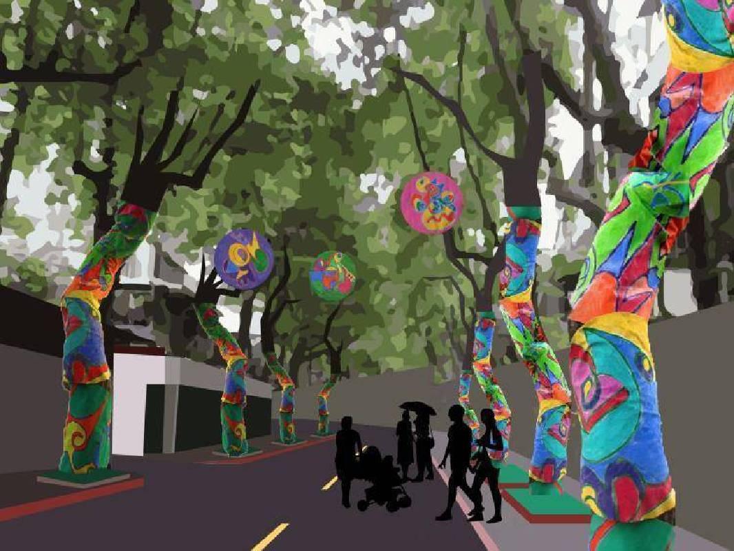 城市互動交織計畫:Carmen Einfinger「樹衣計畫─盛開的楓香大道」模擬圖