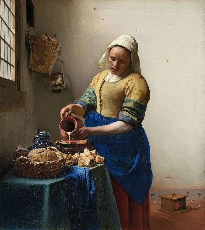 《倒牛奶的女僕》, Johannes Vermeer。