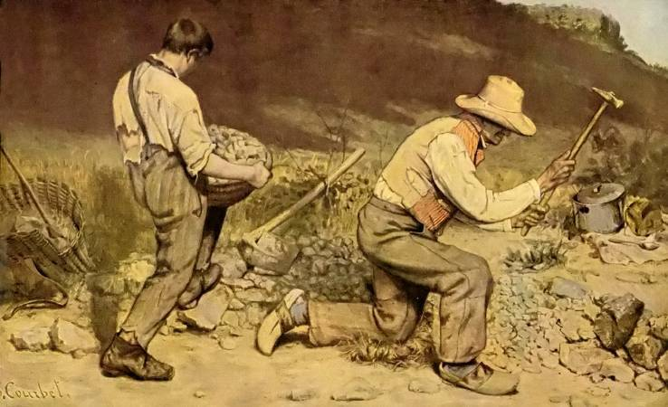 《打石工》,Gostave Courbet。