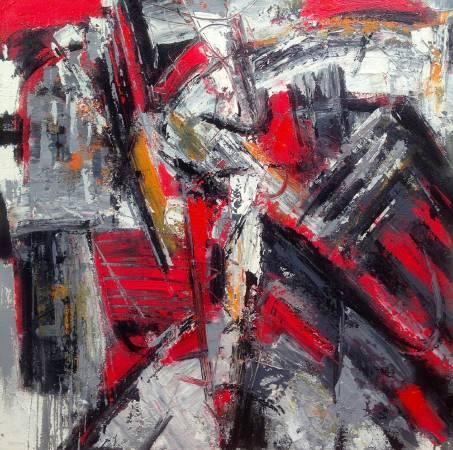 阿旺・達密|《冉冉時光》系列-紅色稻草人  複合媒材  91x91 cm  2016