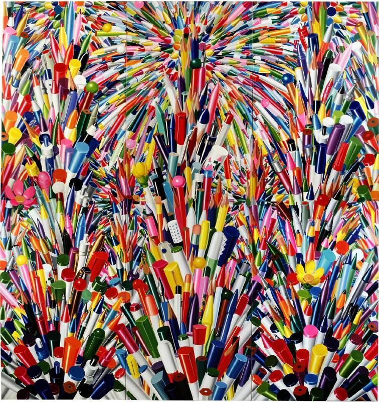 Pens 2 筆2 布面油彩 oil on canvas  390X381cm 1994-1999
