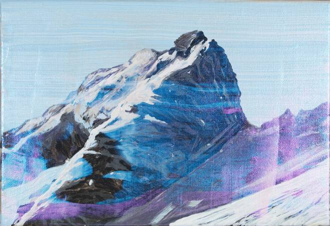 繪葉書10-新高主山的絕壁Ehagaki 10-Cliff on Main Peak of Mount Niitaka_許聖泓 SHIU Sheng-Hung_壓克力顏料、畫布Acrylic on Canvas_35x24cm_2015