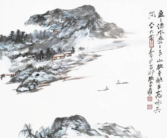 Lot 3094 / 張大千 青山放艇圖