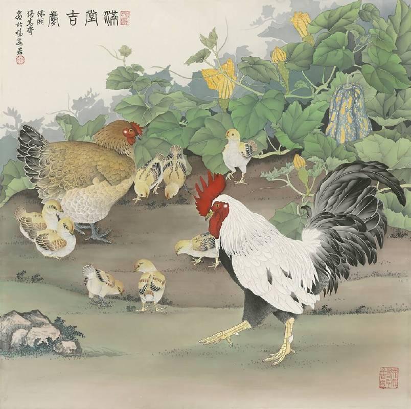 張克齊 滿堂吉慶2016 工筆畫85x85cm