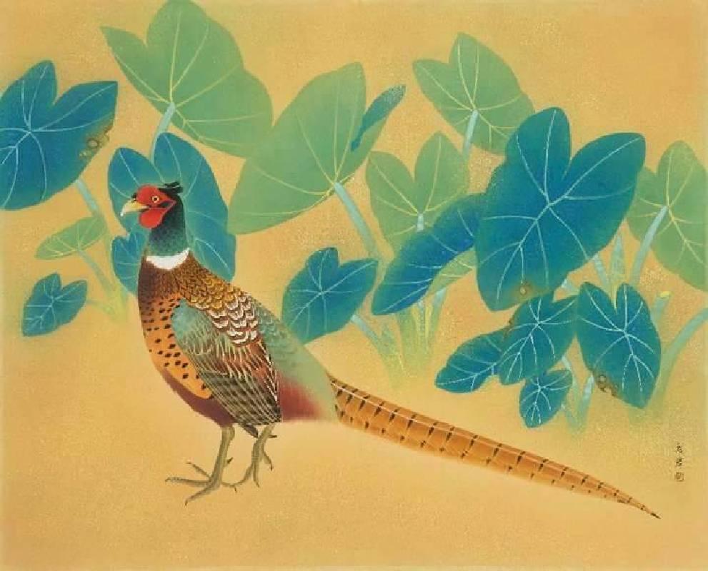 郭羲 - 夏艷   膠彩.絹  40F  2007
