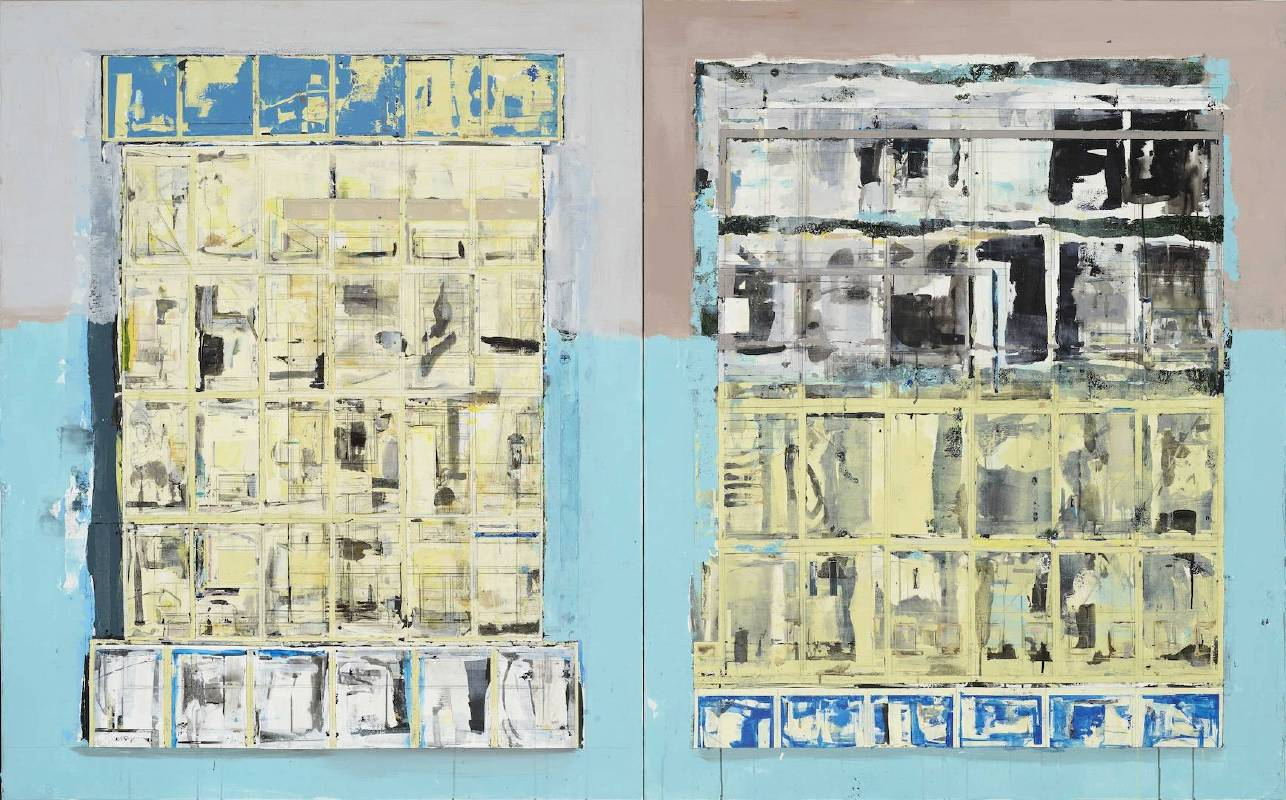 〈Landscape 120 - Daylight and Dusk 〉Mixed media, acrylic on canvas 162 × 260× 5 cm 複合媒材、壓克力、畫布 2016