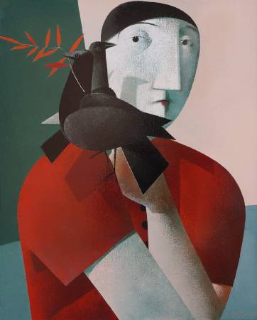Peter H. Harskamp《Man with two Blackbirds》Oil on Canvas  80×100cm 2016