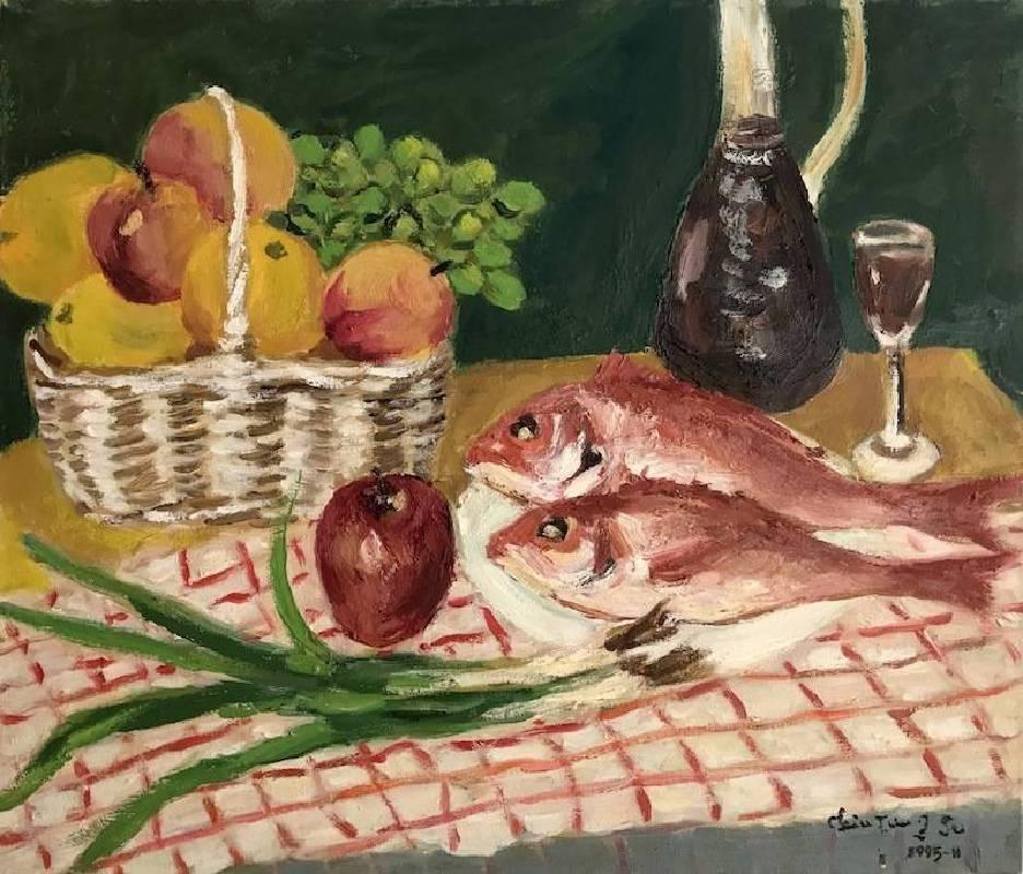 紅魚 1995.45.5×53cm.油彩畫布
