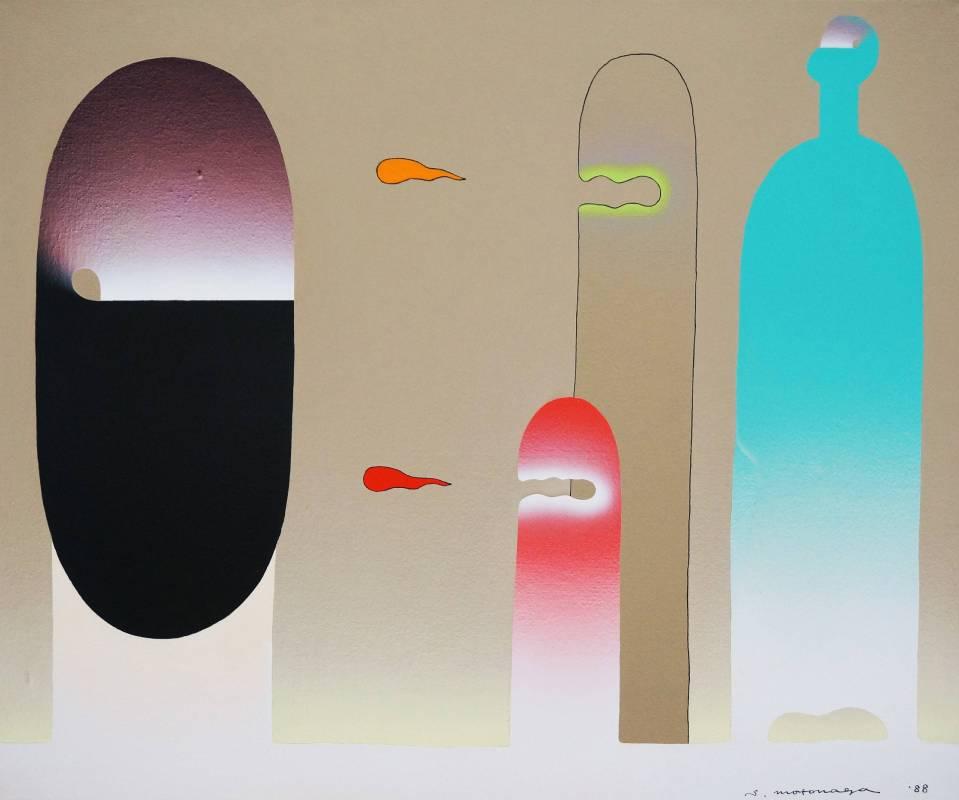 元永定正Sadamasa Motonaga | tobidashiwaakatoorenji | 60.6 x 72.7 cm | acrylic on canvas | 1988