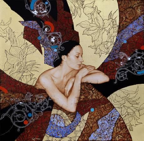 Olga & Sergey Kamennoy (KAMU)《Le Reve》Mixed Medium on canvas 80×80cm 2016 俄羅斯&烏克蘭