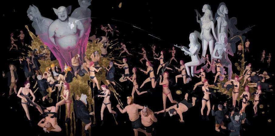 李承道LEE Chen Dao|妖精夜襲|200 x 400 cm|Oil on canvas, gold leaf油彩、畫布、金箔|2017