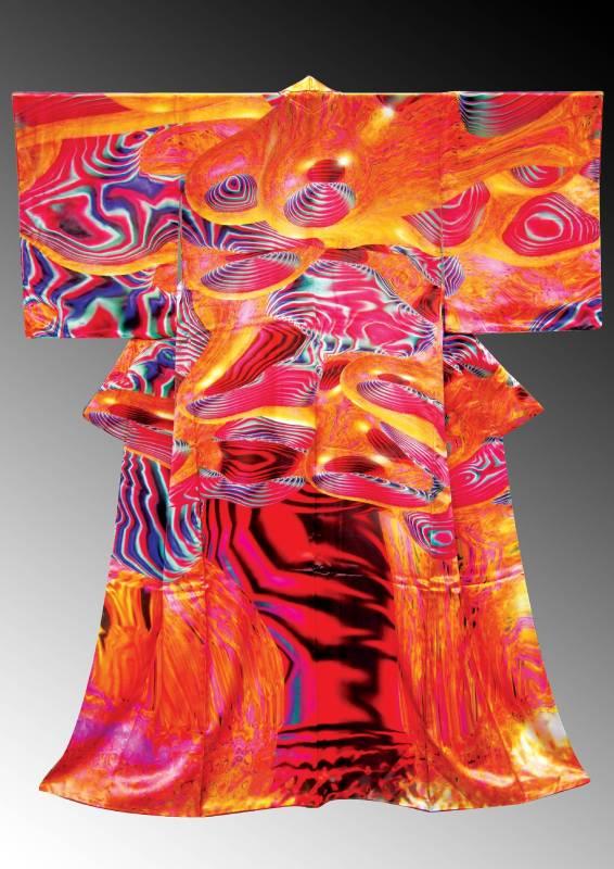 電腦和服誌CG Kimono_數位印刷、布料_Digital-print, Fabric_190 x 170 x 10 cm_2007