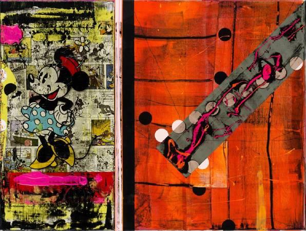 米妮狂喜入畫  Minnie, Ecstatic Painting 60.5x80cm  2012 壓克力畫板 複合媒材 Acrylic on Board, Mixed Media