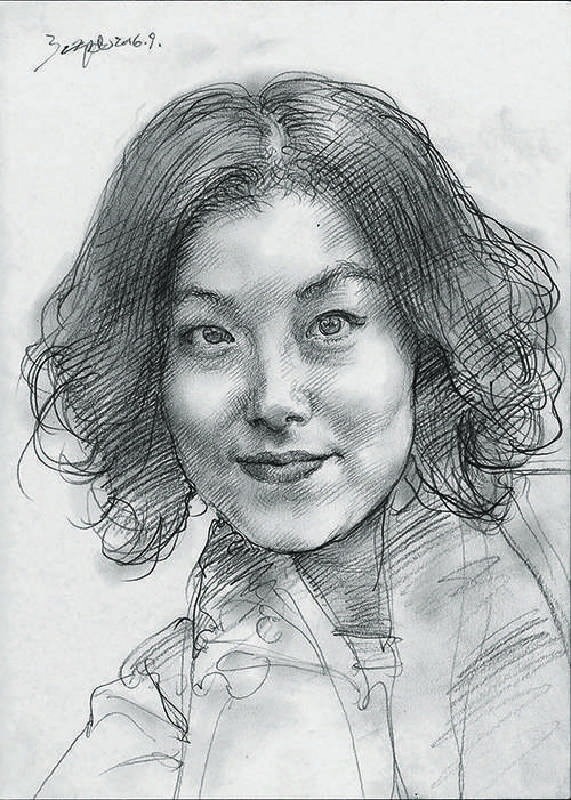 折叠的肖像NO.8 22.5X30cm 纸上铅笔 色粉 2016—2017( Folded Portrait NO.8 22.5X30cm Pencil, Colored powder on paper 2016—2017)