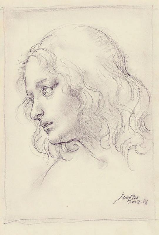 折叠的肖像NO.13 22.5X30X20cm纸上铅笔  色粉  2016—2017(Folded Portrait NO.5  22.5X30cm  Pencil, Colored powder on paper  2016—2017)