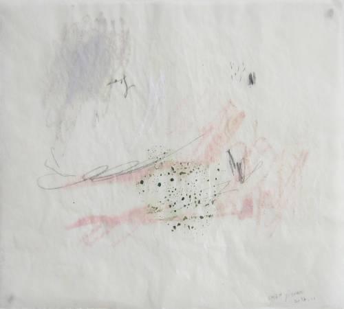 陳怡文 La rivière à l'intérieur.室內的河流 23x30cm 鉛筆、油性粉彩、壓克力、烤盤紙 2016
