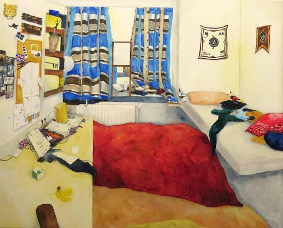 陳亭君〈掛著哈利波特旗幟的房間〉2016.65×80cm.油彩畫布