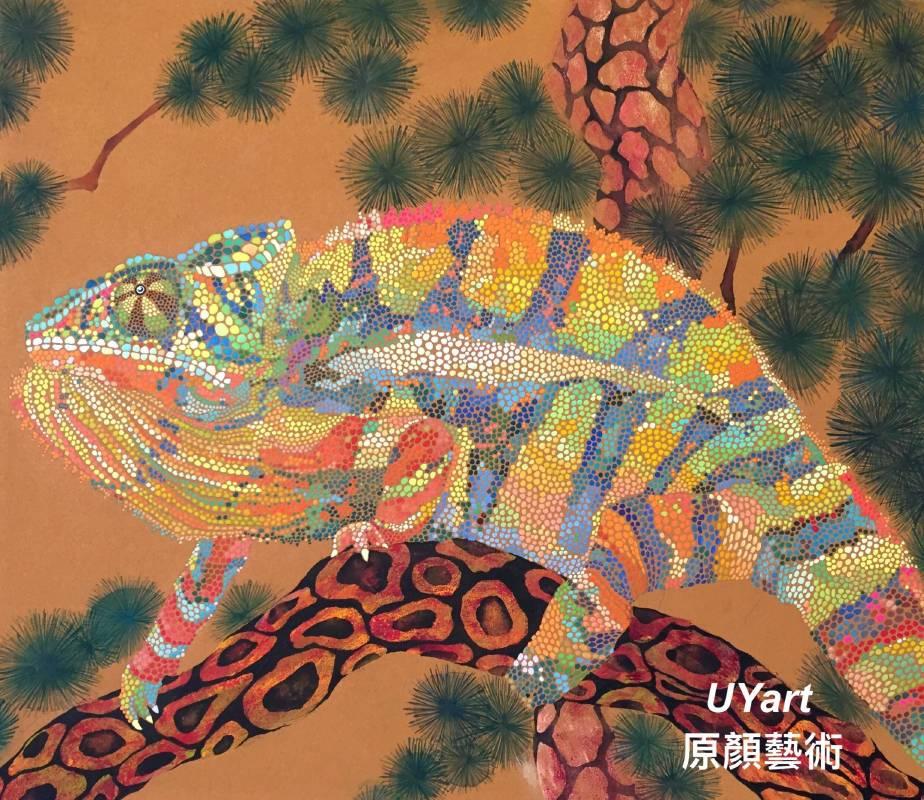 松樹與七彩變色龍 45.5×53㎝(10F) 高知麻紙、墨、礦物顏料、壓克力