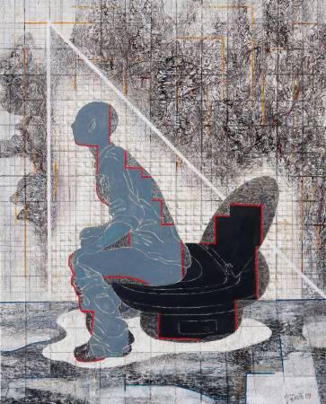 洪根深〈大便美學〉2010,墨、壓克力顏料, 163130cm,藝術家自藏