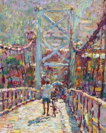 翁明哲 碧潭吊橋 72.5x91 cm 油彩畫布 2017