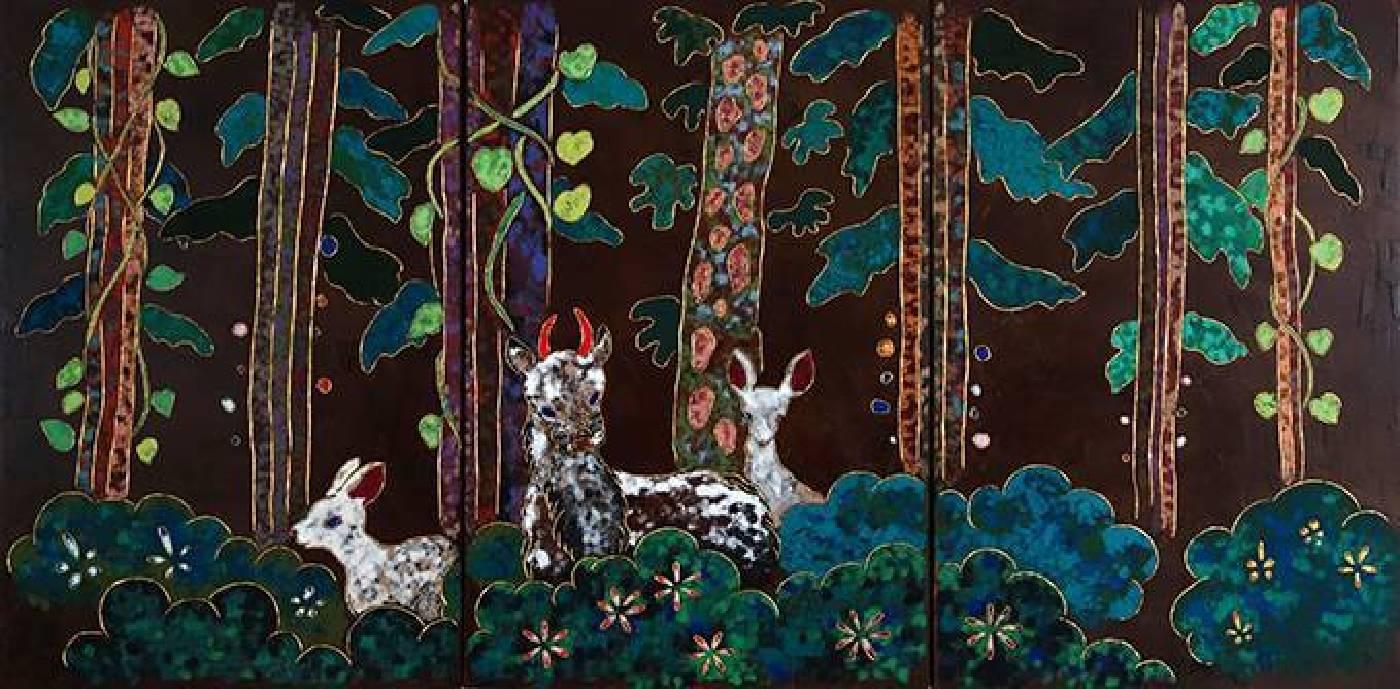 夏愛華│驚鴻│120×240×5 cm│漆、木板、岩繪具、金箔│2016