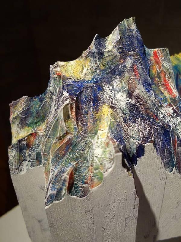 水谷篤司│海峽│38×30×25 cm│ 木、水性日本画顔料、岩彩、壓克力顔料│2014
