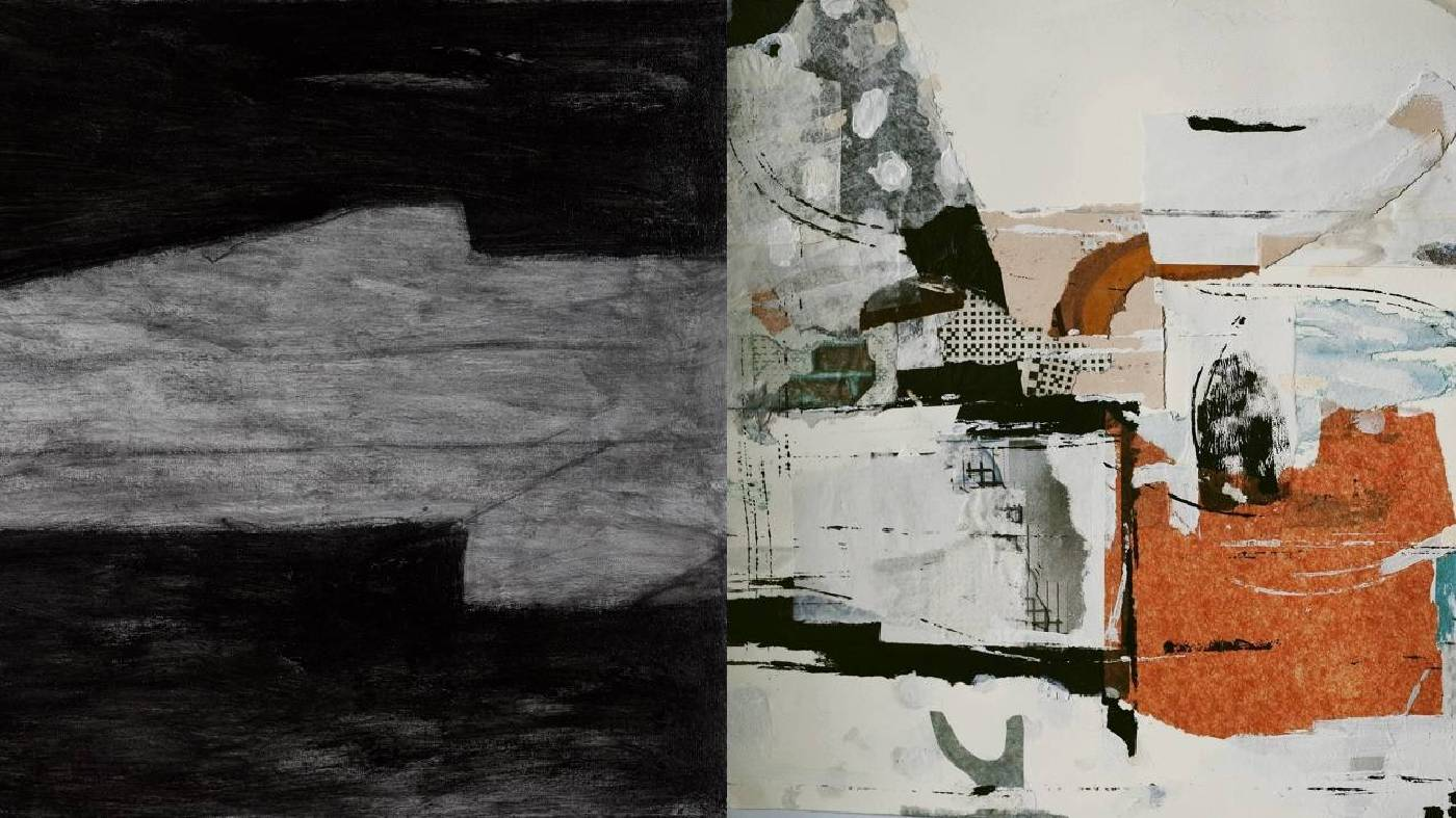 (左) 邱掇 實(局部) 87x70 cm 壓克力、炭筆、畫布 2017 (右) 趙璐嘉Inspiration strikes(局部) 45.5x30.7 cm 複合媒材、紙本 2017