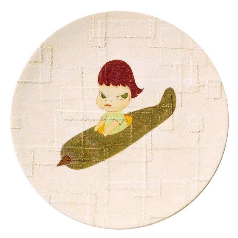 奈良美智 Yoshitomo Nara  迴轉 Kai-Ten 55x55x10cm 2001 壓克力顏料 畫布 玻璃纖維強化塑膠 Acrylic on canvas