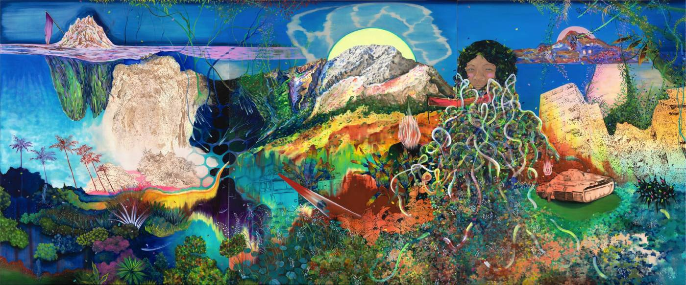 高雅婷,風景圖,壁面釘掛.油彩.畫布,162 x 390 cm (組圖),2015