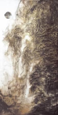 簡志剛 Chien Chih Kang - 他山-1 Another Mountain-1 194×97cm 水墨、複合媒材  Ink on Paper & Mixed Media 2017
