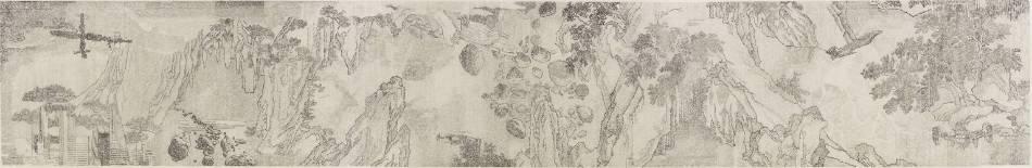 叢雲峰 Cong Yun Feng - 二進制外太空山水圖卷之一 Binary Outer Space Odyssey  NO.1 31.6×200 cm 絹本水墨 Ink on Silk 2017