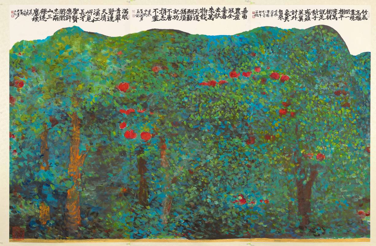 黃光男∣平安樹 ∣2012∣彩墨、紙∣140×70 cm×3