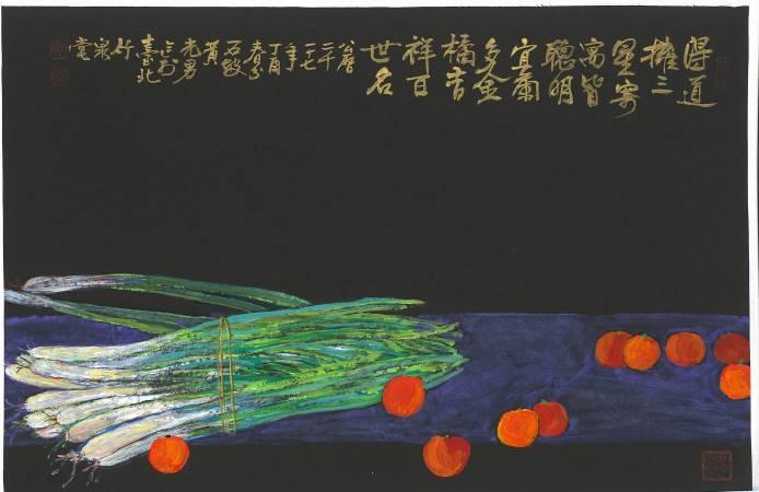 黃光男∣三星普照 ∣2017∣彩墨、壓克力彩、紙∣46.5 x 68 cm