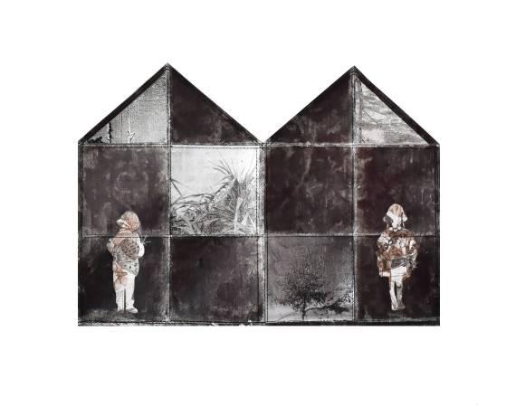 黃至正《侵蝕的記憶-堡壘3》,2017,紙本、墨水、銀箔、鋁箔、線,40 x 29 cm