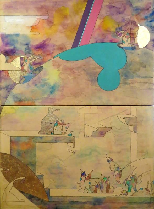 庇護所上下層_水性顏料_金箔_牛皮紙裱於木板_55x80cmx2pcs_2017