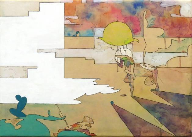 十分瀑布_水性顏料_金箔_牛皮紙裱於木板_42x58cm_2017