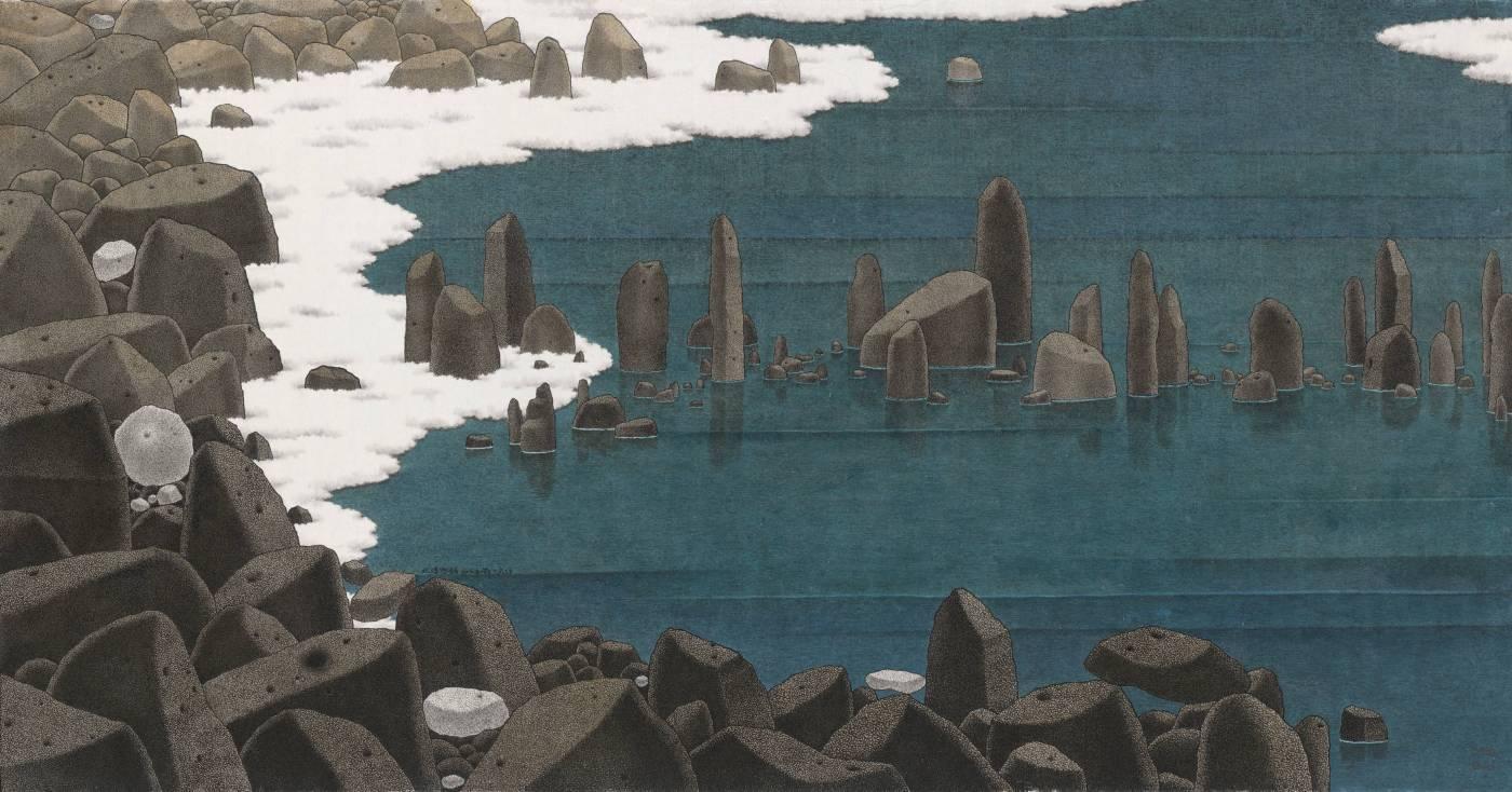 鄧卜君-水樣雲鋪-127x66cm-紙上水墨-2016