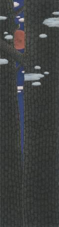 鄧卜君-松間暮月-63x239cm-紙上水墨-2016