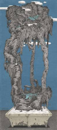 鄧卜君-泉落數彎水綠岩砌獨釣青雲-96x217.5cm -紙上水墨- 2016