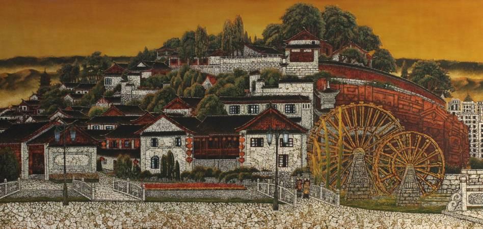 鄭修鈐,《榕城》,2003,漆畫,120x60cm