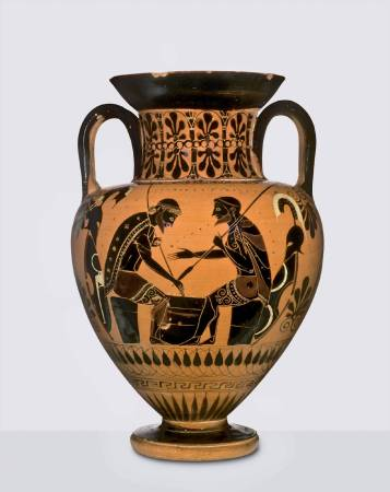 Black-figure amphora with scene of Achilles and Ajax playing a board game ca. 540 BC Vulci Basel, Antikenmuseum Basel und Sammlung Ludwig