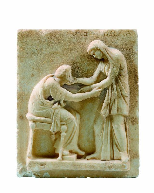 Funerary Stele with Scene of Greeting, Early 3rd century BC, Marble Santorini, Cemetery of Ancient Thera, Archaeological Museum of Thera