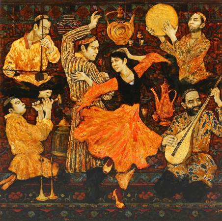 黃匡白,《邊疆舞樂》,2009,漆畫,80x80cm