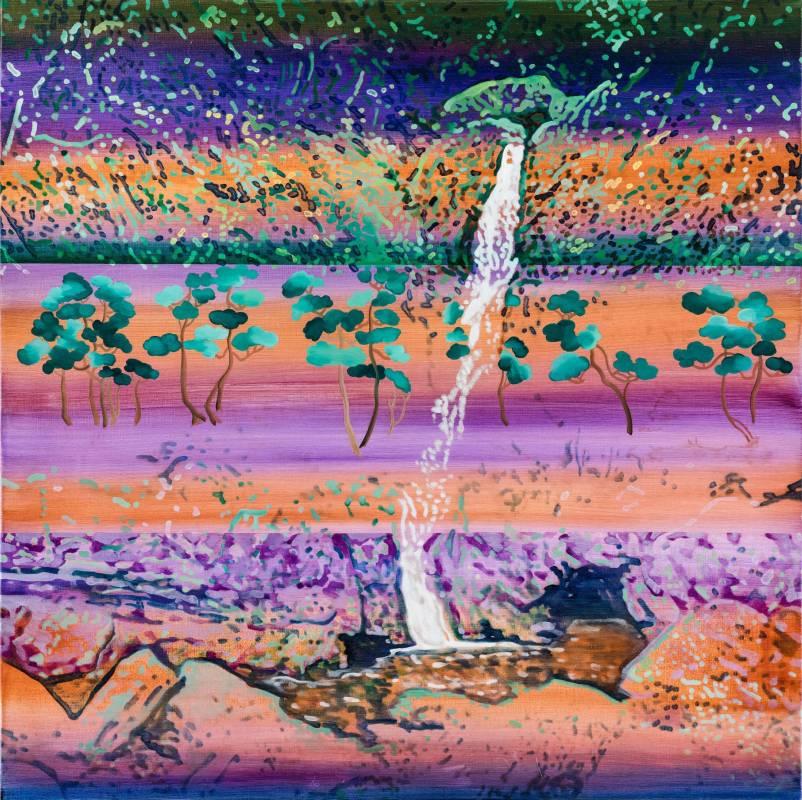 高雅婷, 瀑布#2, 油彩畫布, 120X120cm, 2017